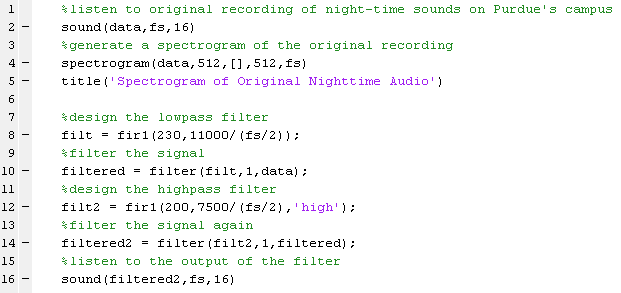 MATLAB code used to filter recording of nighttime noises to hear bat noises more clearly